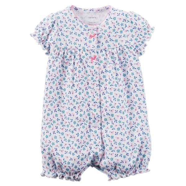 Infant Girl's Purple Cotton Snap-Up Romper