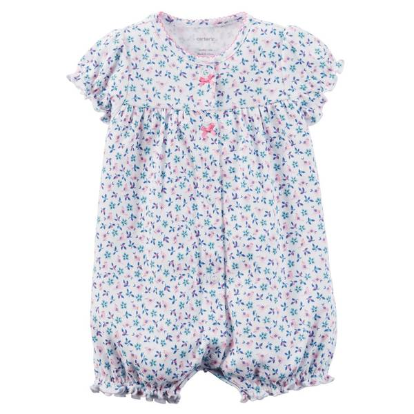Baby Girl's Purple Cotton Snap-Up Rompers