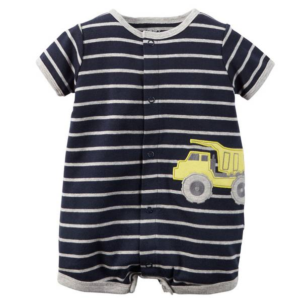 Infant Boy's Navy Cotton Snap-Up Romper