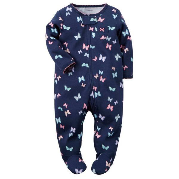 Baby Girl's Navy Sleep & Play Zip-Up Jumpsuit