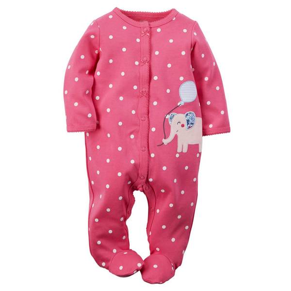 Baby Girl's Sleep & Play Snap-Up Jumpsuit