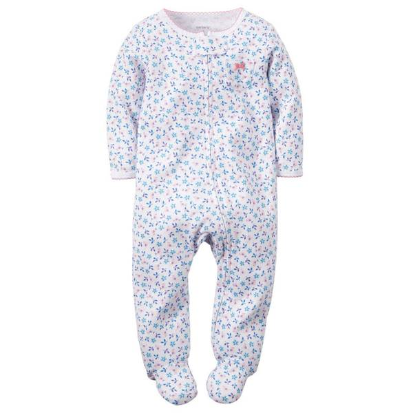 Baby Girl's White & Pink & Blue Sleep & Play Jumpsuit