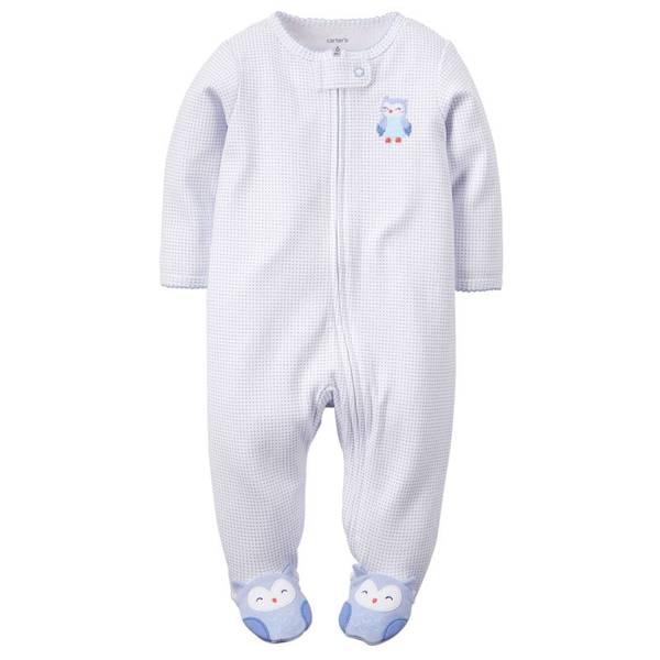Baby Girl's Blue Sleep & Play Zip-Up Jumpsuit