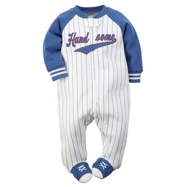 Baby Boy's Ivory & Blue Sleep & Play Zip-Up Jumpsuit