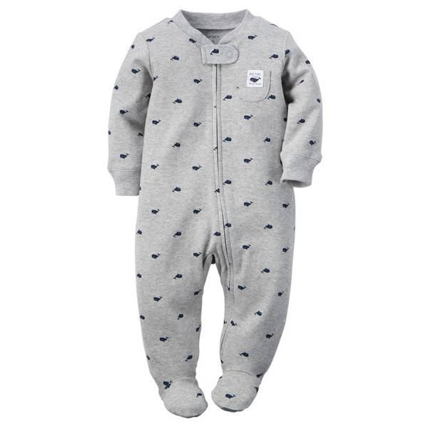 Baby Boy's Gray Sleep & Play Zip-Up Jumpsuit