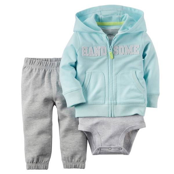 Baby Boy's Blue & Gray 3-Piece Cardigan Set