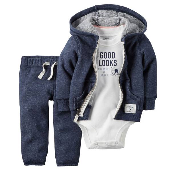 Baby Boy's Navy & White 3-Piece Cardigan Set