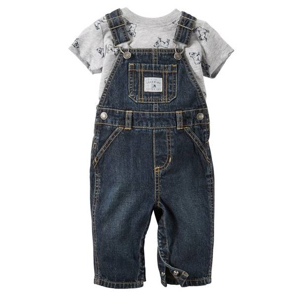 Baby Boy's Blue & Gray 2-Piece Tee & Overalls Set