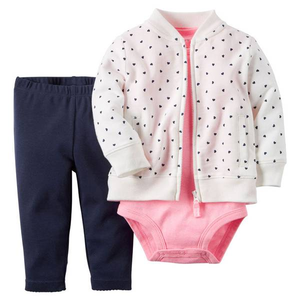 Baby Girl's White & Pink & Navy 3-PIece Cardigan Set