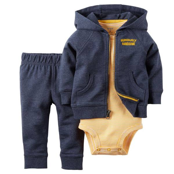 Infant Boy's Navy & Orange 3-Piece Cardigan Set