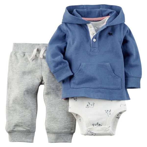 Infant Boy's Blue & Gray 3-Piece Pullover Set