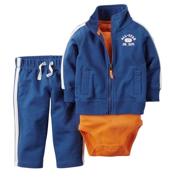 Baby Boy's Blue & Orange 3-Piece Cardigan Set