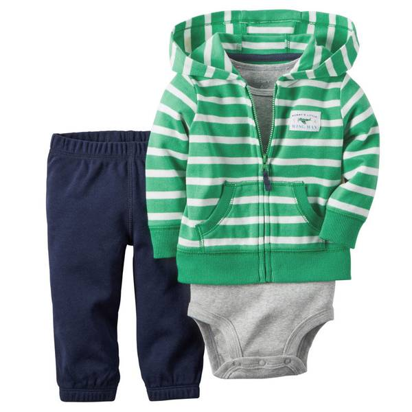 Infant Boy's Green & Navy & Gray 3-Piece Cardigan Set