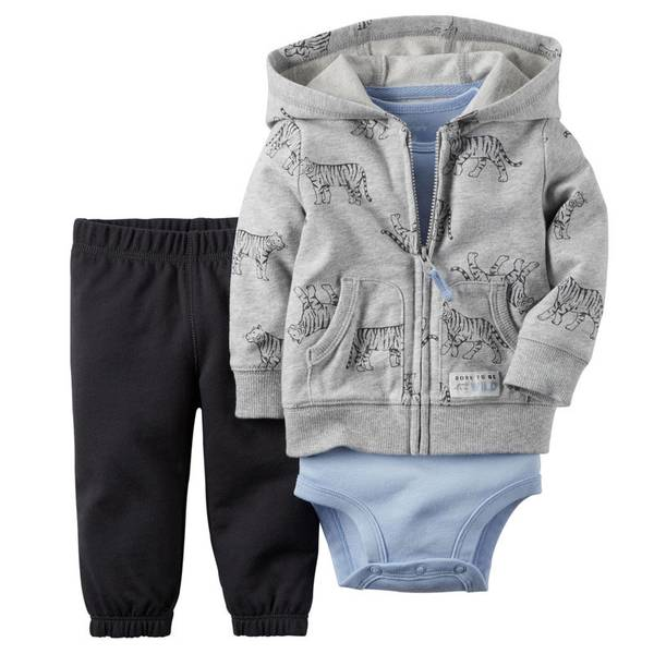 Baby Boy's Gray & Blue & Black 3-Piece Cardigan Set