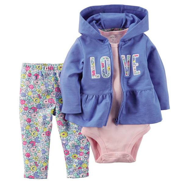 Infant Girl's Multi Colored 3-Piece Cardigan Set