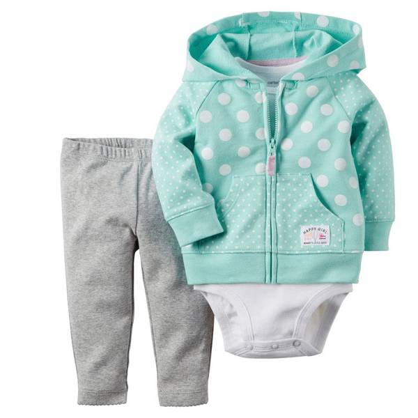 Baby Girl's Mint & Gray & White 3-Piece Cardigan Set