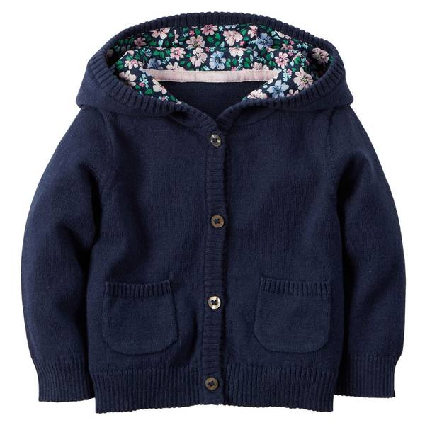Infant Girl's Navy Hooded Cardigan