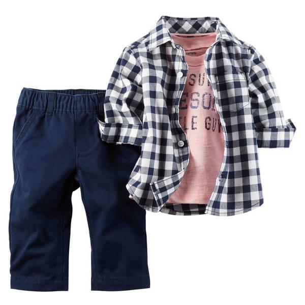 Infant Boy's Multi Colored 3-Piece Shirt & Pants Set