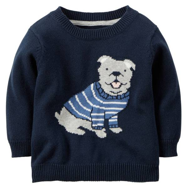 Infant Boy's Navy Dog Sweater