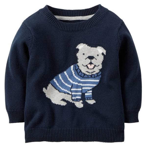 Infant Boy's Navy Dog Sweater