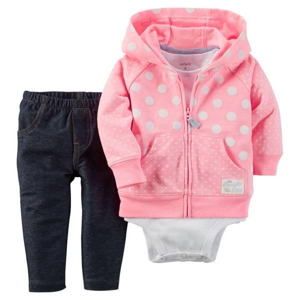 Infant Girl's Pink & Blue & White 3-Piece Cardigan Set