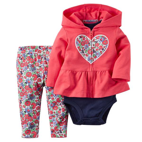 Infant Girl's Multi Colored Cardigan & Bodysuit & Pants Set