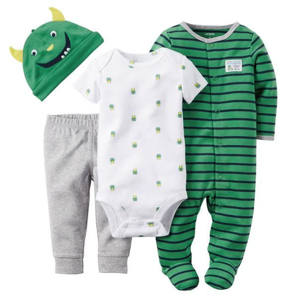Baby Boy's Green & White & Gray 4-Piece Take-Me-Home Set