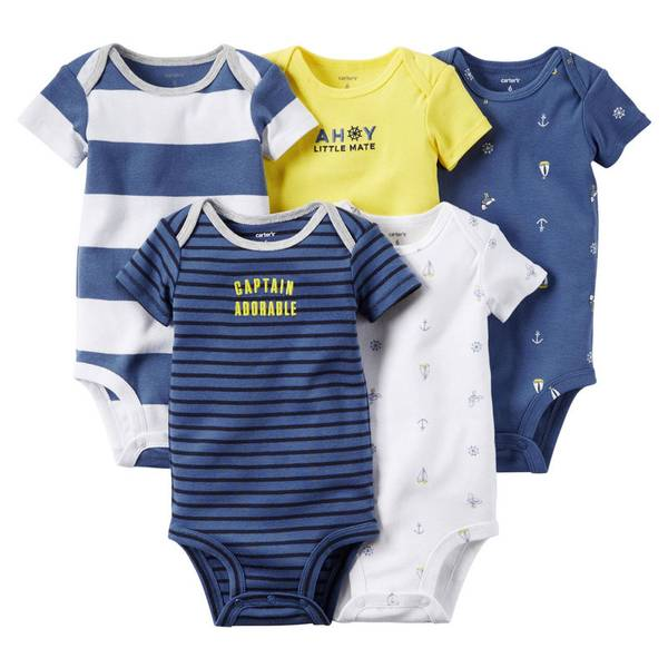Baby Boy's Blue & White & Yellow Bodysuits-5 Pack
