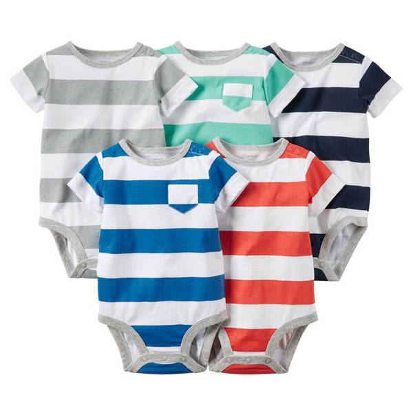 Infant Boy's Multi Colored Striped Bodysuits-5 Pack