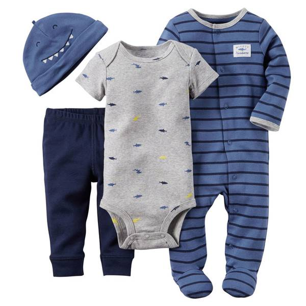 Baby Boy's Gray & Blue 4-Piece Take-Me-Home Set