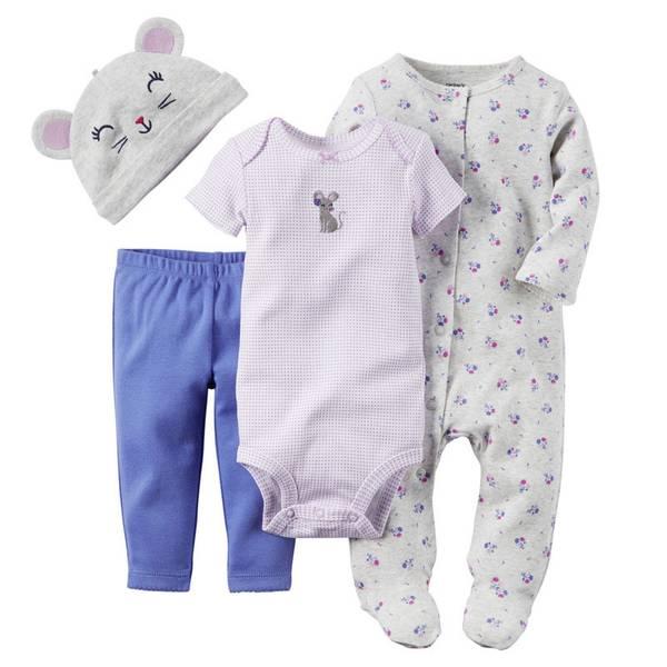 Baby Girl's Purple & Gray & Blue 4-Piece Take-Me-Home Set