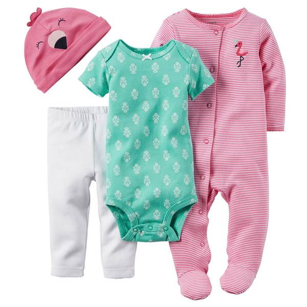 Baby Girl's Pink & Turquoise & White 4-PIece Take-Me-Home Set