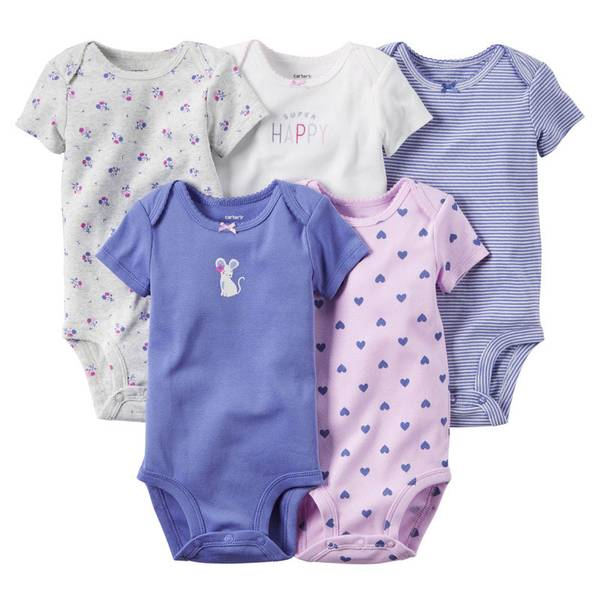 Infant Girl's Multi Colored Bodysuits-5 Pack