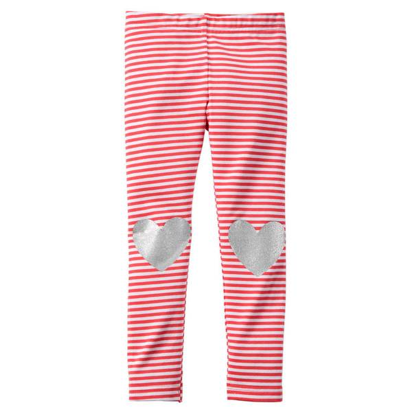 Girl's Red & White Sparkle Heart Leggings