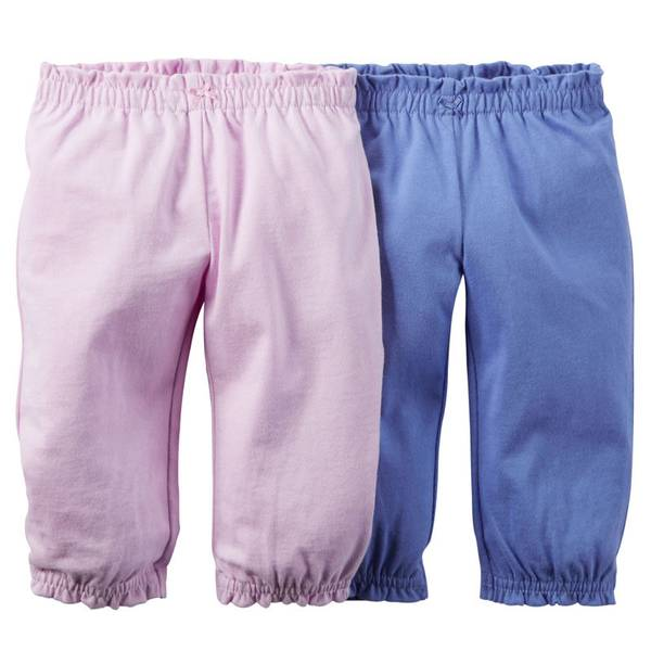 Infant Girl's Multi Colored Pants-2 Pack