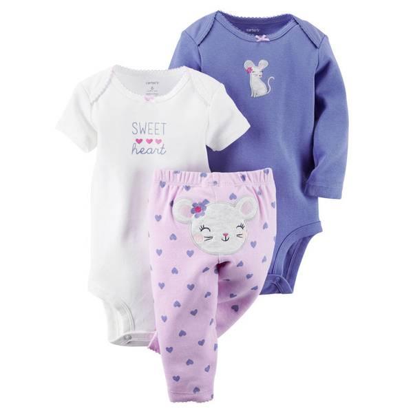 Infant Girl's Purple & White & Pink 3-Piece Bodysuit & Pants Set