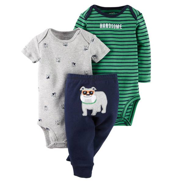 Baby Boy's Green & Gray & Navy 3-Piece Bodysuit & Pants Set