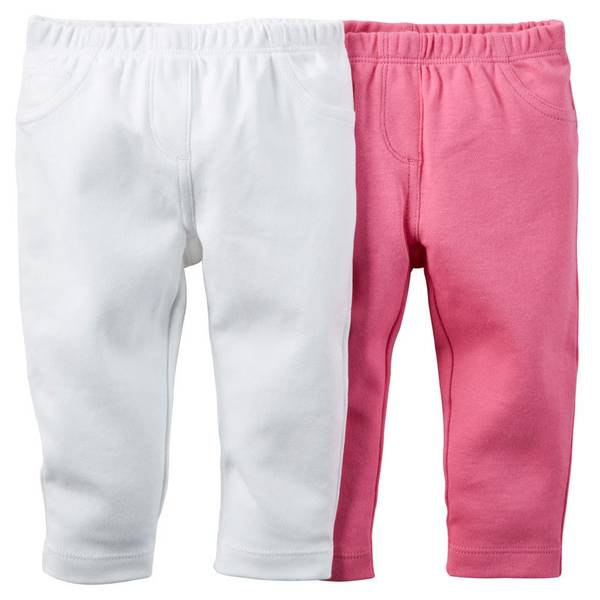 Infant Girl's White & Pink Pants-2 Pack