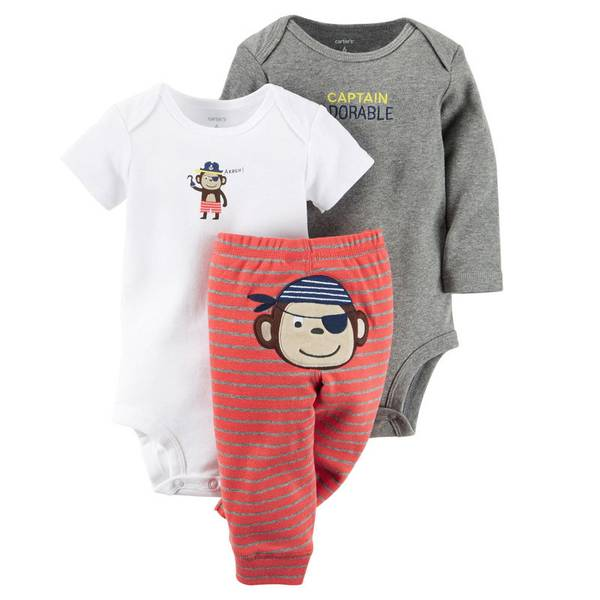 Baby Boy's Gray & Red & White 3-Piece Bodysuit & Pants Set