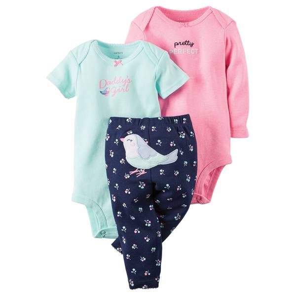 Infant Girl's Multi Colored Bodysuit & Pants Set