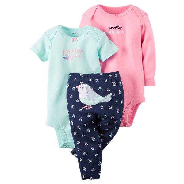 Baby Girl's Pink & Blue & Green 3-Piece Bodysuit & Leggings Set