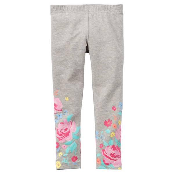 Toddler Girl's Gray Printed Leggings