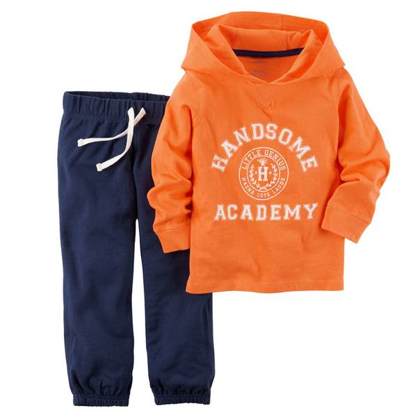 Baby Boy's Orange & Blue 2-Piece Hoodie & Pants Set