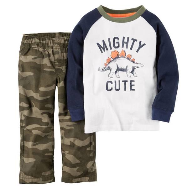 Infant Boy's Navy & White & Camouflage 2-Piece Top & Pants Set
