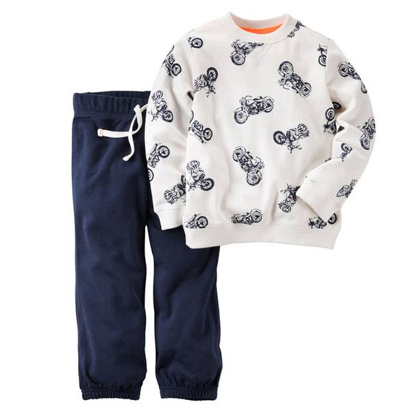 Baby Boy's Ivory & Navy 2-Piece Pullover & Sweatpants Set