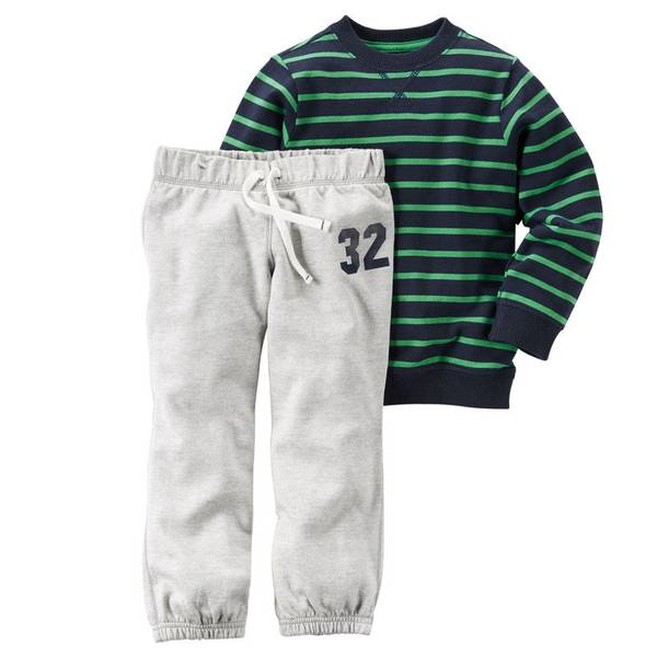 Baby Boy's Navy & Gray & Green Pullover & Sweatpants Set
