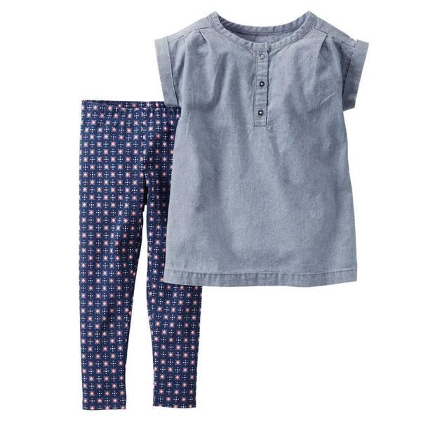 Infant Girl's Blue & Navy Chambray Top & Leggings Set