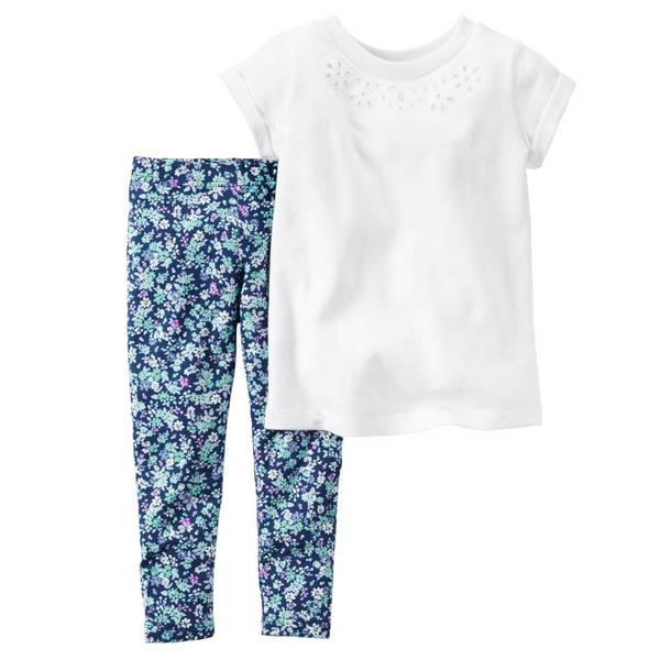 Baby Girl's White & Blue 2-Piece Top & Leggings Set