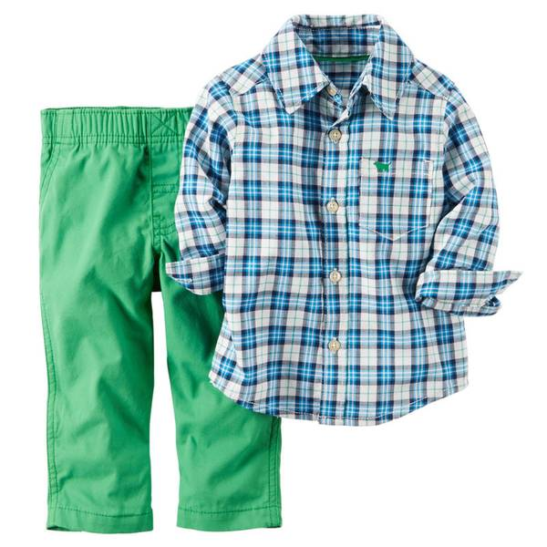 Infant Boy's Blue & Green & White Shirt & Pants Set