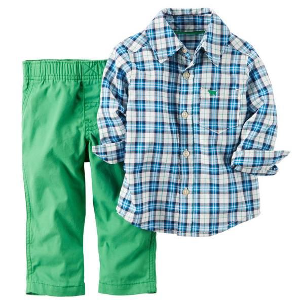 Baby Boy's Blue & Green & White Shirt & Pants Set